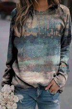 Artistic Abstract Gradient Print Raglan Sleeves T-shirt