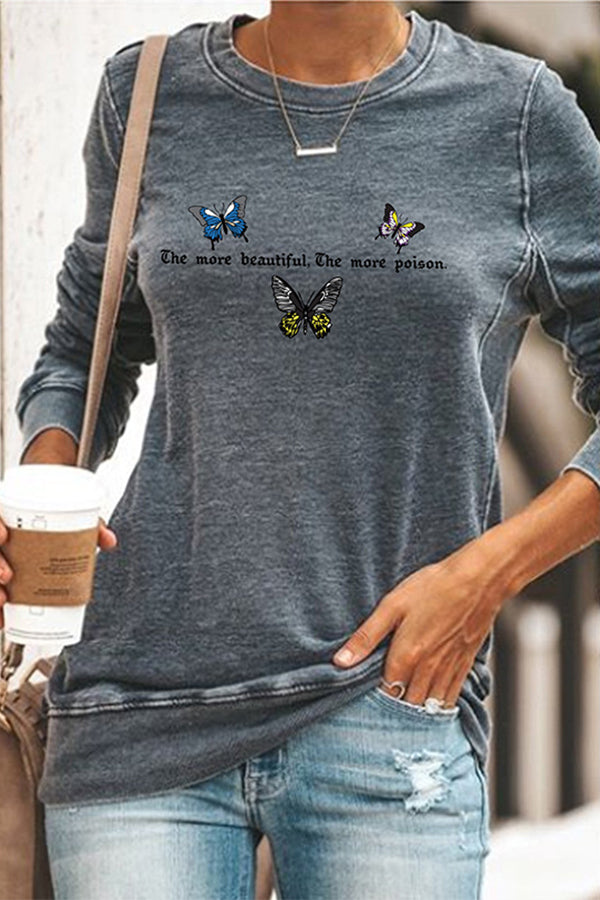 Colorful Butterfly Letter Print Daytime Paneled T-shirt