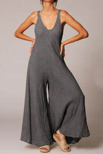 Solid Sling Plunging Neck Folds Casual Wide Leg Jumpsuit