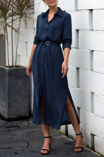 Casual Solid Buttons Down Slit Maxi Dress