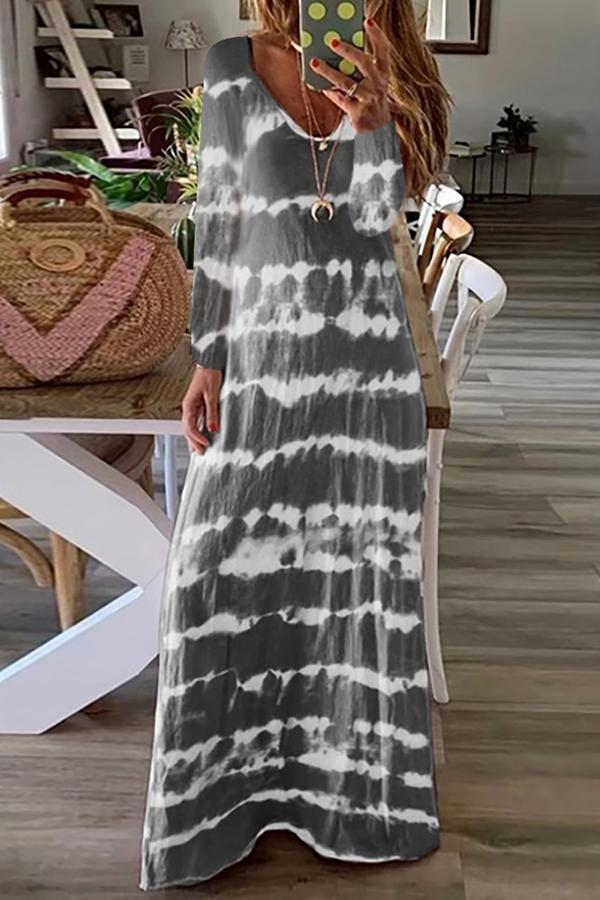Casual Long Sleeves Stripe Print Maxi Dress