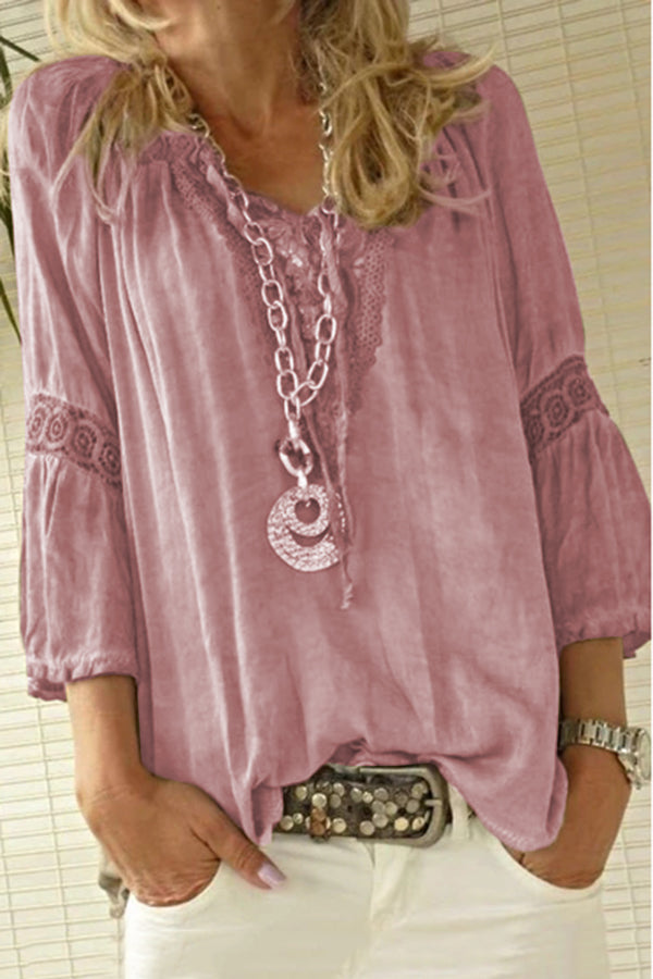Casual Lace Solid Vintage Long Sleeves Shirt