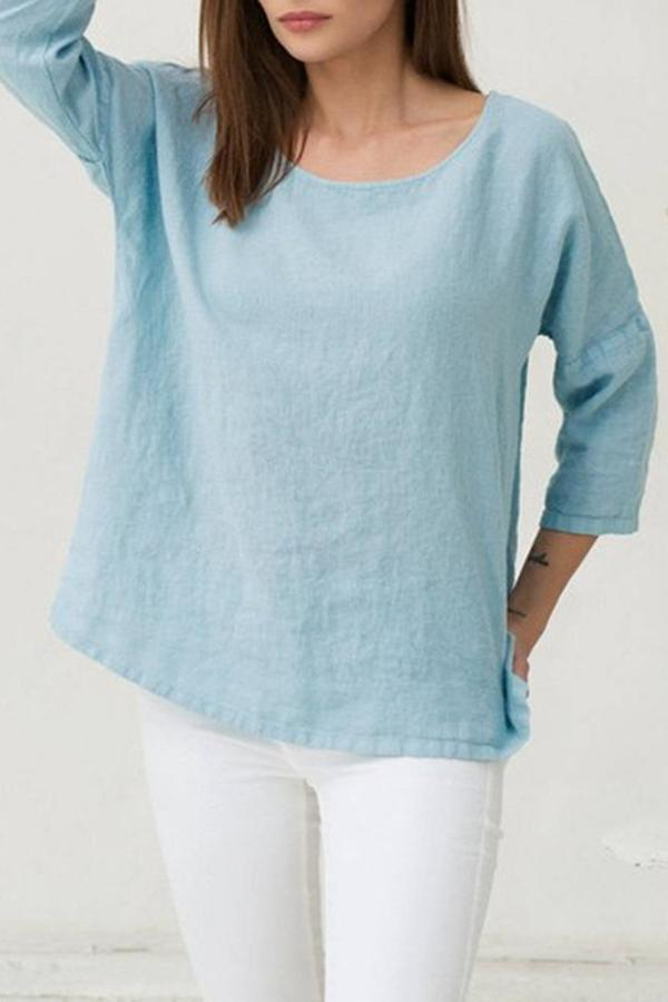 Daytime Loose Solid Crew Neck Blouse