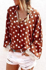 Casual Print Lace Sleeves Shirt