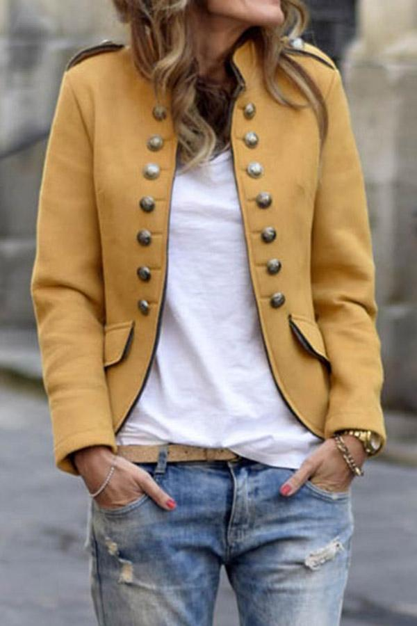 Buttoned Stand Collar Solid Casual Coat