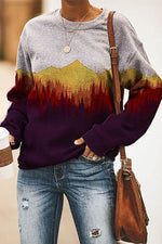 Vintage Gradient Mountain Forest Treetop Nature Landscape Jacquard Sweatshirt