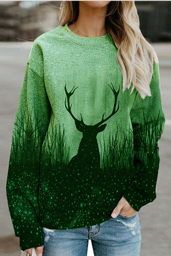 Elk In The Dreamy Gradient Forest Landscape Jacquard Christmas Sweatshirt