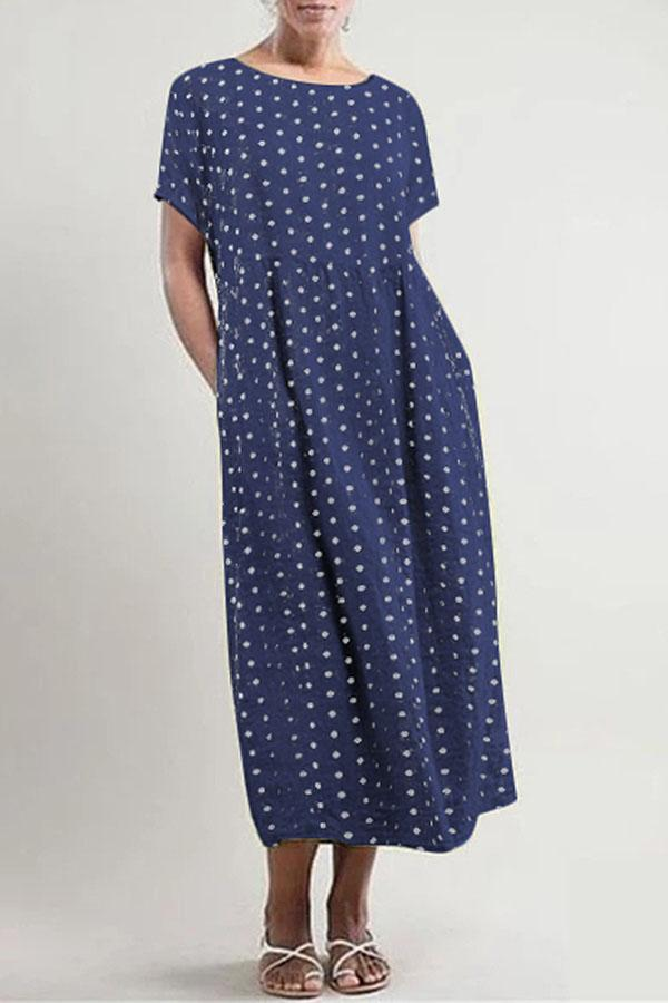 Casual Point Short Sleeves Round Maxi Dress