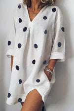 V Neck Polka Dots Shift Daily Mini Dress