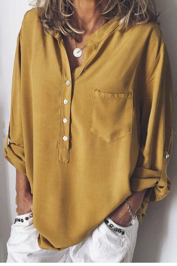 Button Design Long Sleeves Chiffon Blouse