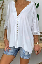 Buttoned V Neck Casual T-shirts