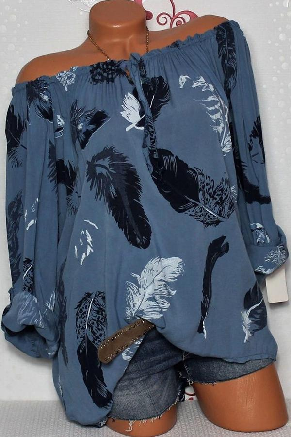 Casual Off Shoulder Tie-up Feather Print Blouses