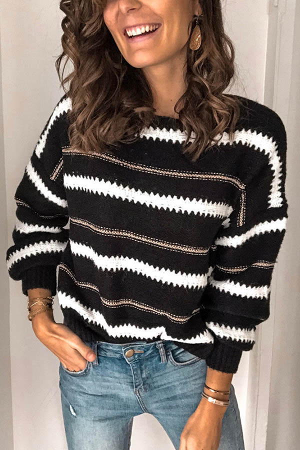 Daily Striped Wave Jacquard Knitted Hollow Out Balloon Sleeves Sweater