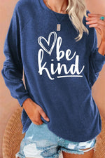 Casual Be Kind Letter Heart Shaped Print Raglan Sleeves Crew Neck T-shirt