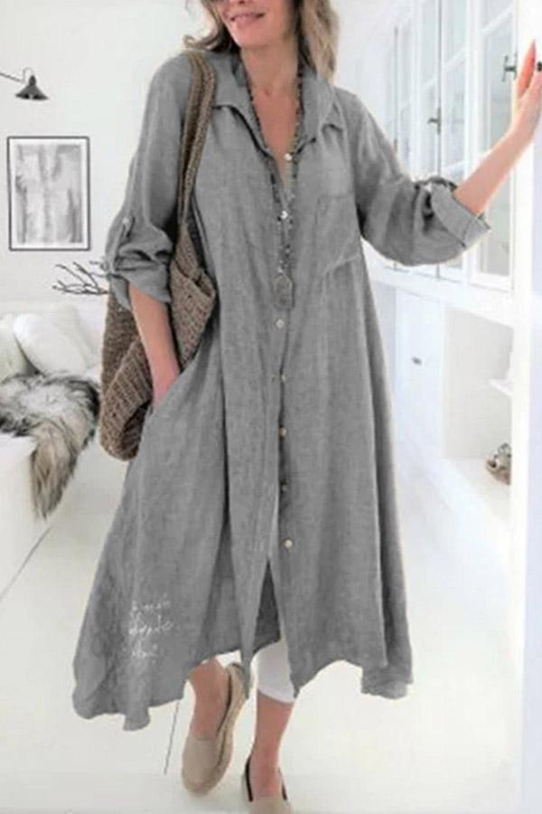Linen Button Down Long Sleeves Midi Shirt Dress