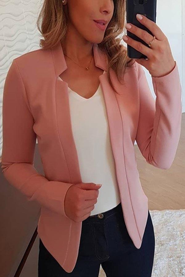 Solid Long Sleeves Open Front Casual Coat