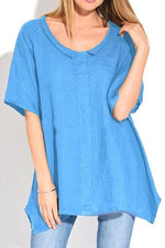 Solid Round Neck Irregular Tee
