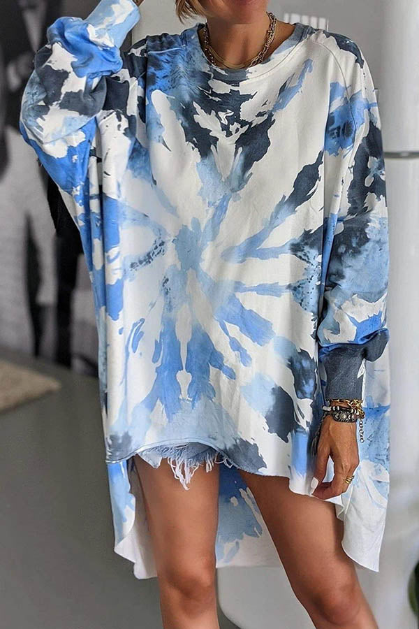 Street Gradient Print Loose High Low Crew Neck T-shirt