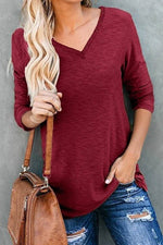 Paneled Rivets V-neck Casual Solid Long Sleeves T-shirt
