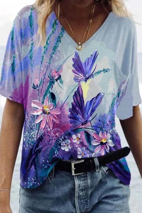 Literary Purple Floral With Butterfly Oil Painting Gradient Print Women Shift T-shirt