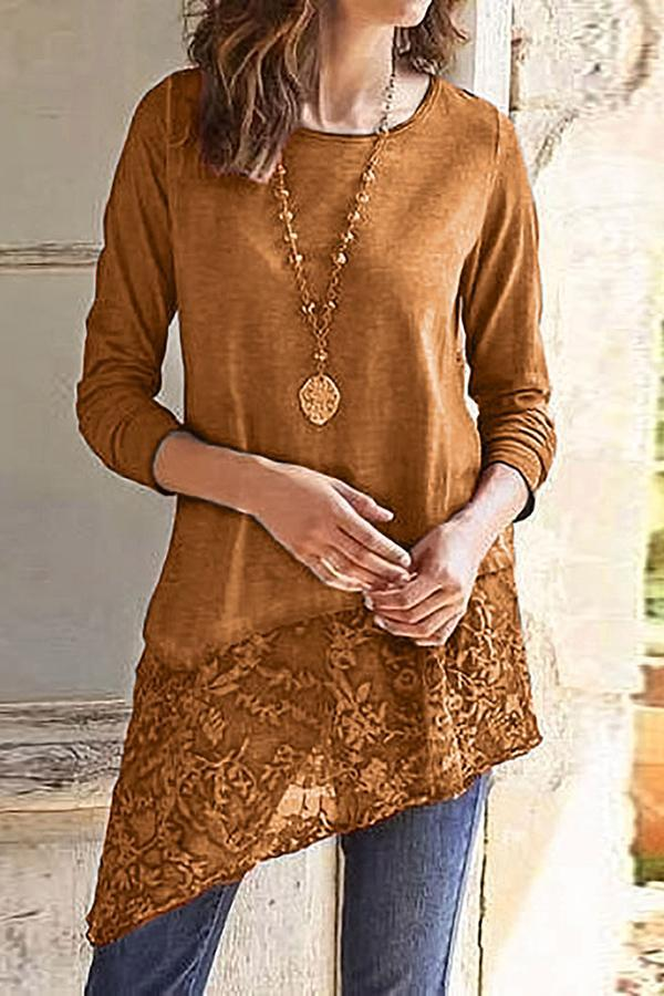 Solid Lace Paneled Irregular Crew Neck T-shirt