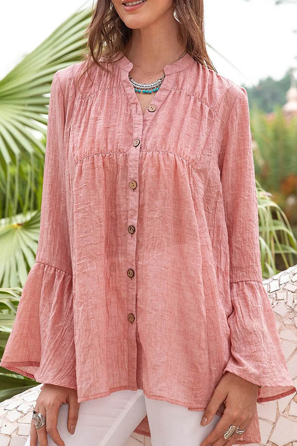 Vintage Solid Buttons Down V-neck Paneled Pleated Bell Sleeves Blouse