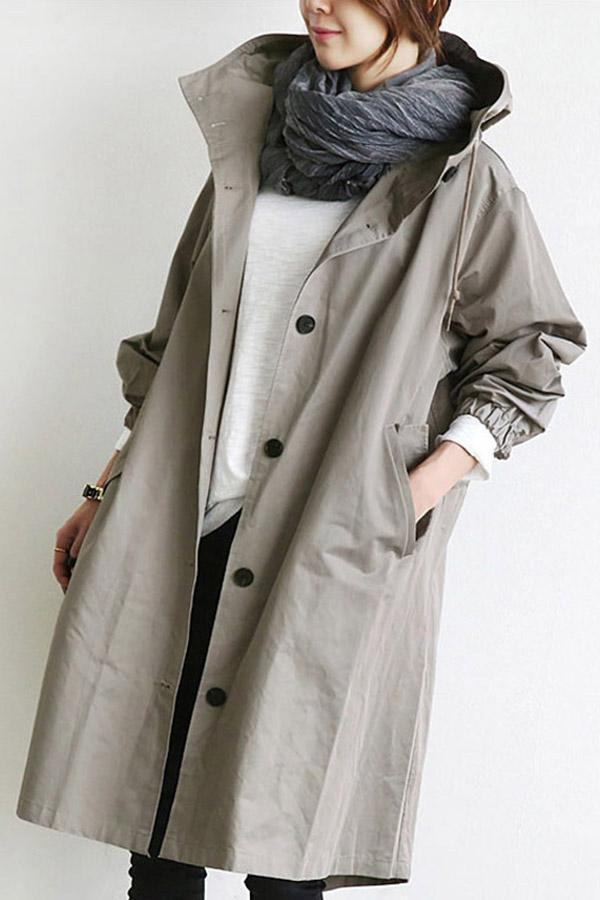 Oversized Hoodie Pocket Solid Long Coat