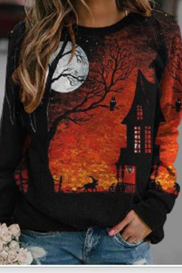 Sunset Glow Gradient Ancient Castle Lifelike Moon Animal Print Halloween Sweatshirt