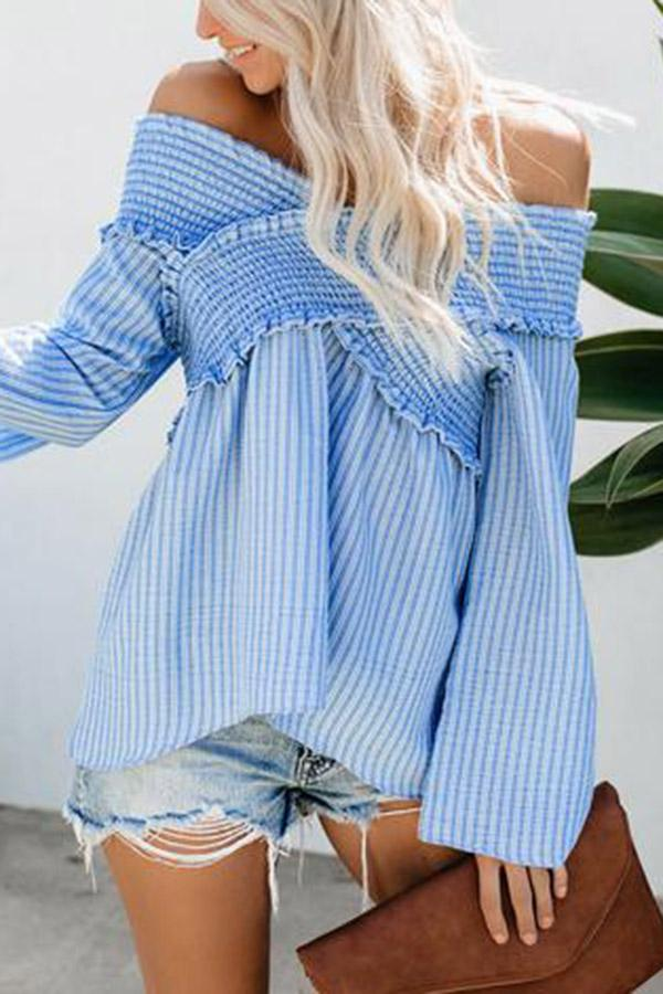 Off Shoulder Paneled Casual Striped Top