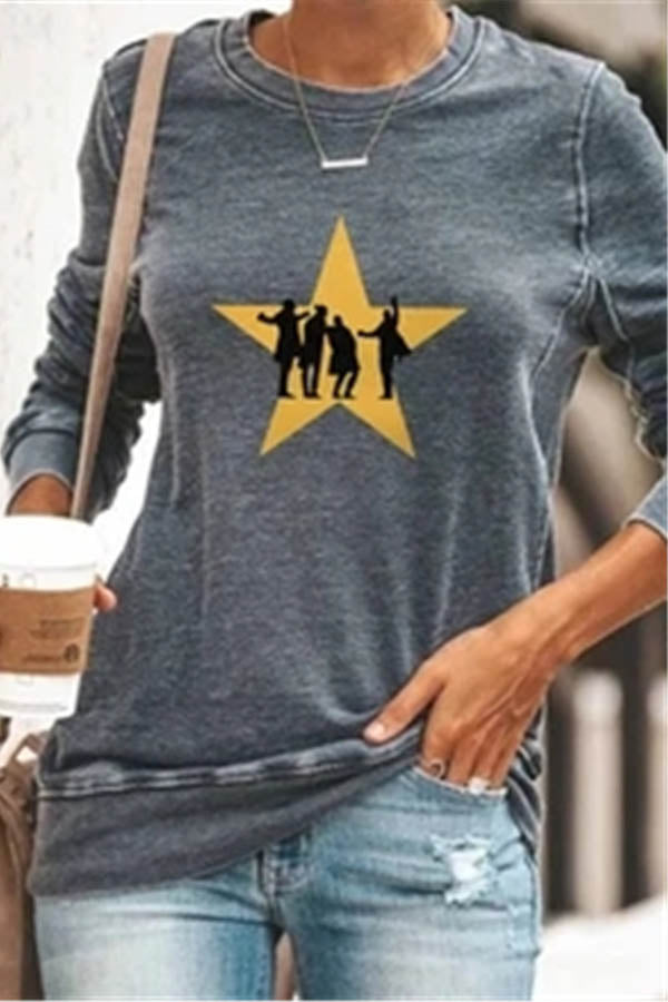 Star Character Print Casual Paneled Crew Neck T-shirt
