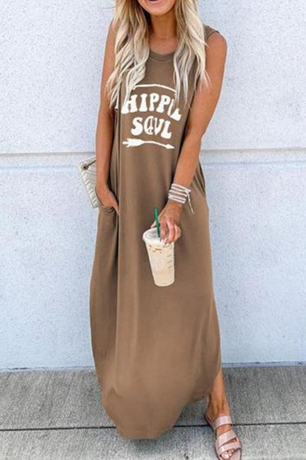 Casual Crew Neck Letter Print Maxi Dress