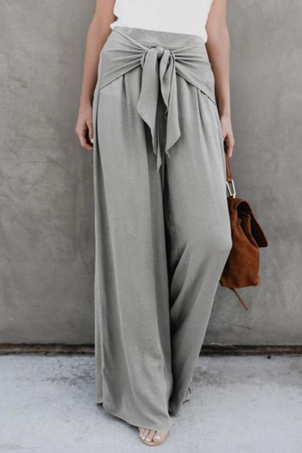 Casual Solid Self-tie Wide Leg Pants