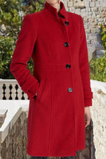 Solid Sheath Temperament Buttons Down Stand Collar Pockets Long Coat
