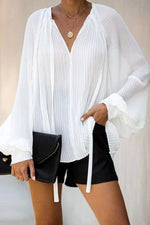 Chiffon Loose Pleated Solid Long Sleeve Blouses