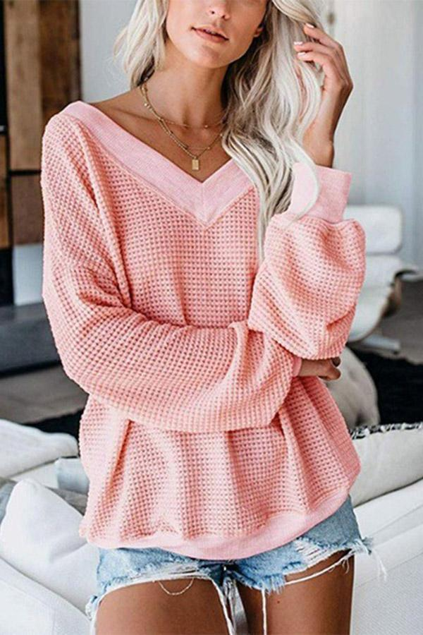 V Neck Puffy Sleeves Casual Sweater