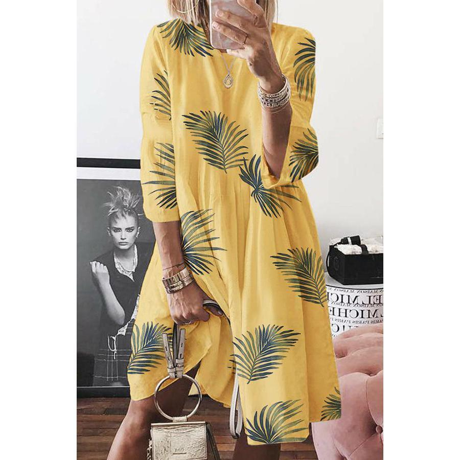Leaf Print Round Neck Loose Midi Dress