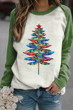 Colorful Gradent Dragonfly Christmas Tree Print Raglan Sleeves Color-block T-shirt