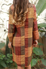 Loose Crew Neck Plaid High Low Casual Midi Dress