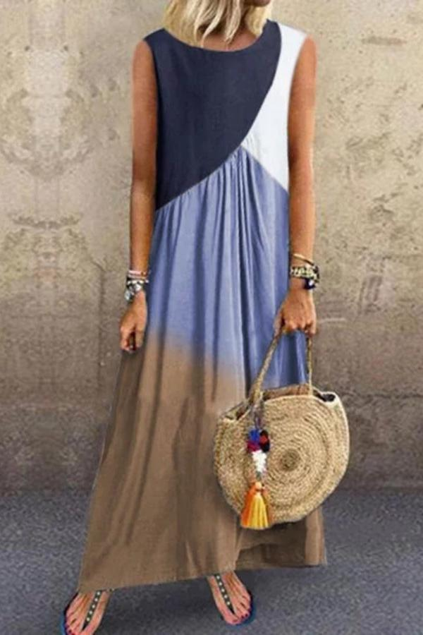 Color Block Paneled Sleeveless Maxi Dress