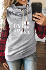 Mama Letter Plaid Bear Arrow Print Drawstring Color Block Sports Hoodie