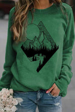Literary Nature Landscape Mountain Forest River Sun Print Raglan Sleeves T-shirt