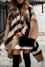 Temperament Plaid Jacquard Irregular Cape Coat