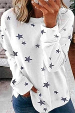 Casual Print Star Loose Crewneck T-shirt