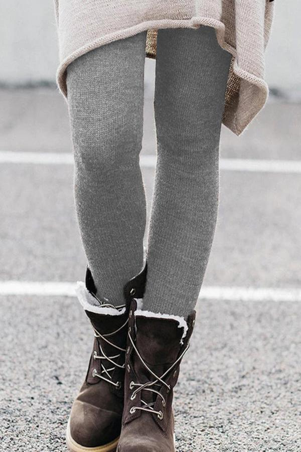 Solid Casual Screw Thread Leggings Pants