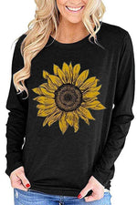 Sunflower Print Long Sleeves Crew Neck T-shirts