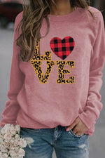Love Letter With Leopard And Plaid Pattern Print Casual Sweatshirt