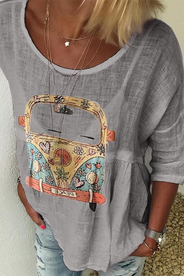 Casual Bus Print Linen T-shirts