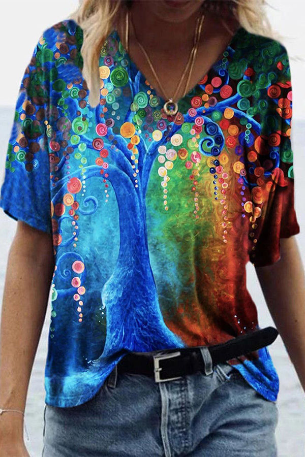 Artistic Abstract Tree Floral Gradient Print Shift T-shirt