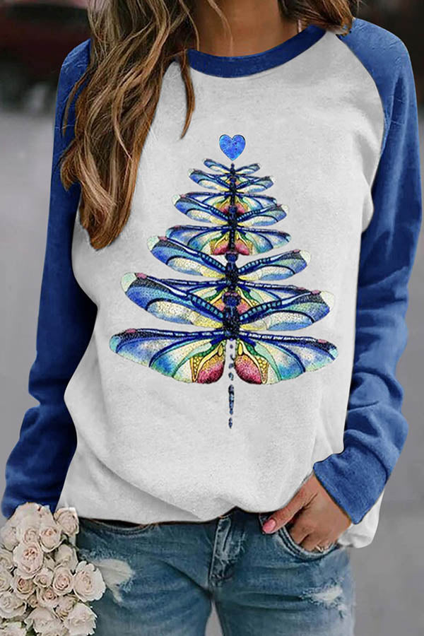 Colorful Tie Dye Dragonfly Christmas Tree Print Raglan Sleeves Color-block Lively T-shirt