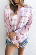 Gradient Print Paneled Casual Long Sleeves Sweatshirt